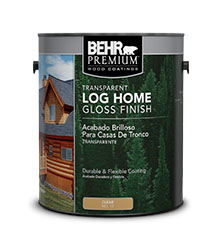 Can of Behr Premium Log Home Gloss Finish