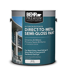 Can of Behr Premium Direct to Metal Semi Gloss paint