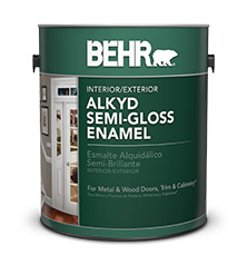 Can of Behr alkyd semi-gloss enamel paint