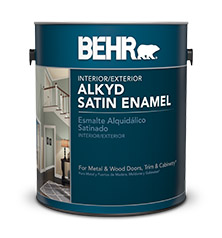 Can of Behr alkyd satin enamel paint