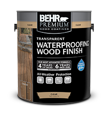 Can of Behr Premium Transparent Waterproofing Wood Finish