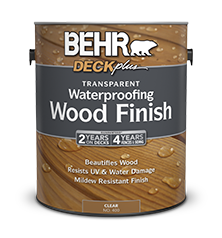Can of Behr Deck Plus Waterproofing Wood Finish