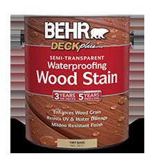 Can of Behr Deck Plus Waterproofing Wood Stain