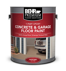 Can of Behr Premium Concrete and Garage Floor Paint