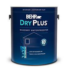 Can of Behr Dry Plus masonry waterproofer paint