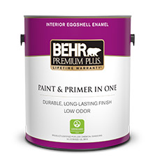 Can of Behr Premium Plus Eggshell Enamel Paint