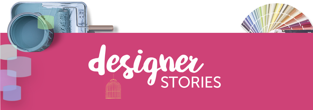designer stories text over a pink ribbon