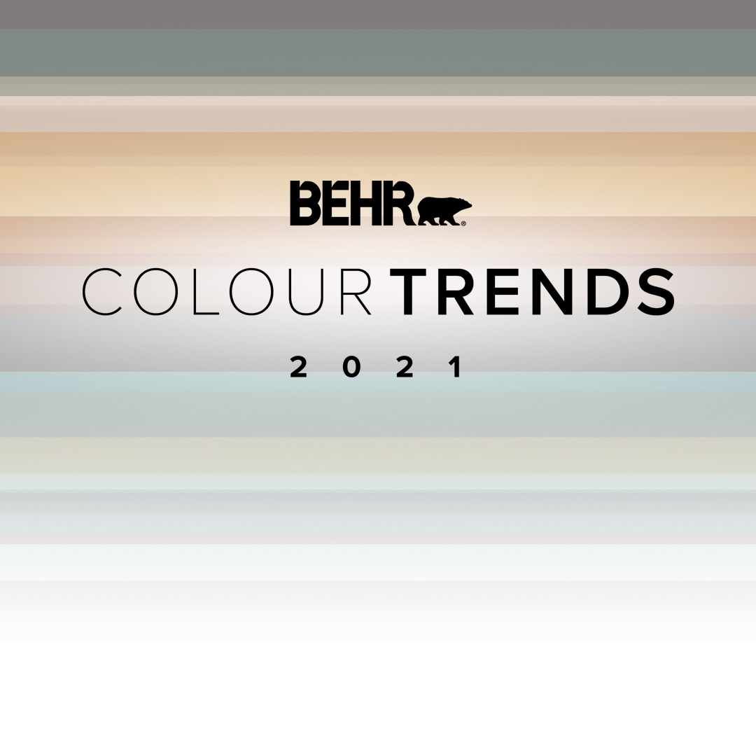 Mobile-sized banner image representing the Behr 2021 Color Trends forecast. Includes color bands of each of the 2021 trend colors, the Color Trends logo lockup, and the Behr logo.