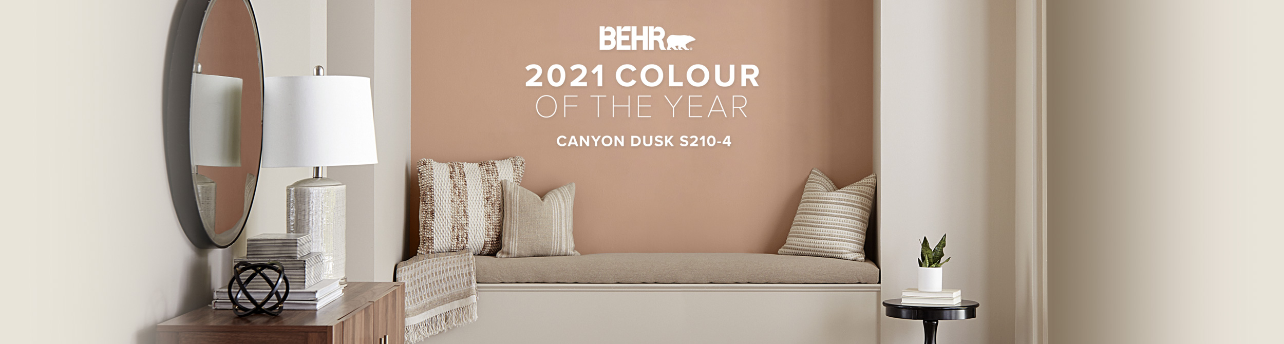 Banner image of reading nook representing the Behr 2021 Color of the Year, Canyon Dusk.