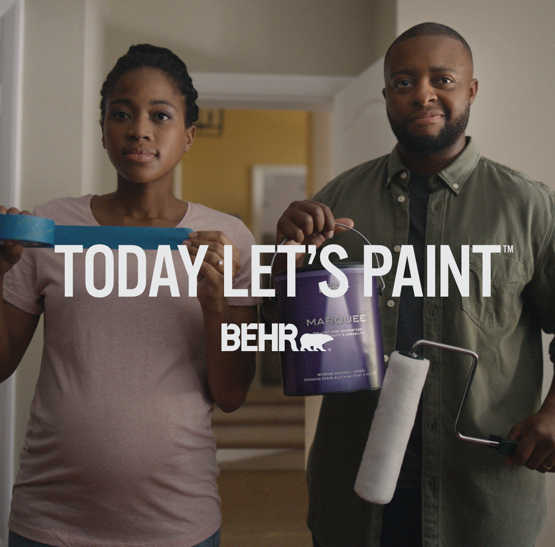 Mobile-sized image of couple getting ready to paint with words Today Let's Paint in foreground.