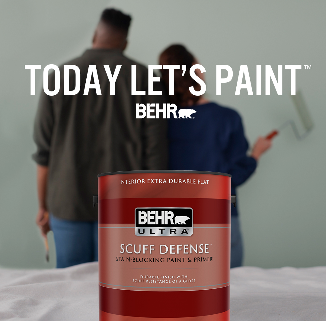 Mobile-sized image of a couple getting ready to paint with a can of BEHR Ultra Scuff Defense Extra Durable Flat interior paint and the words Today Let's Paint in foreground.