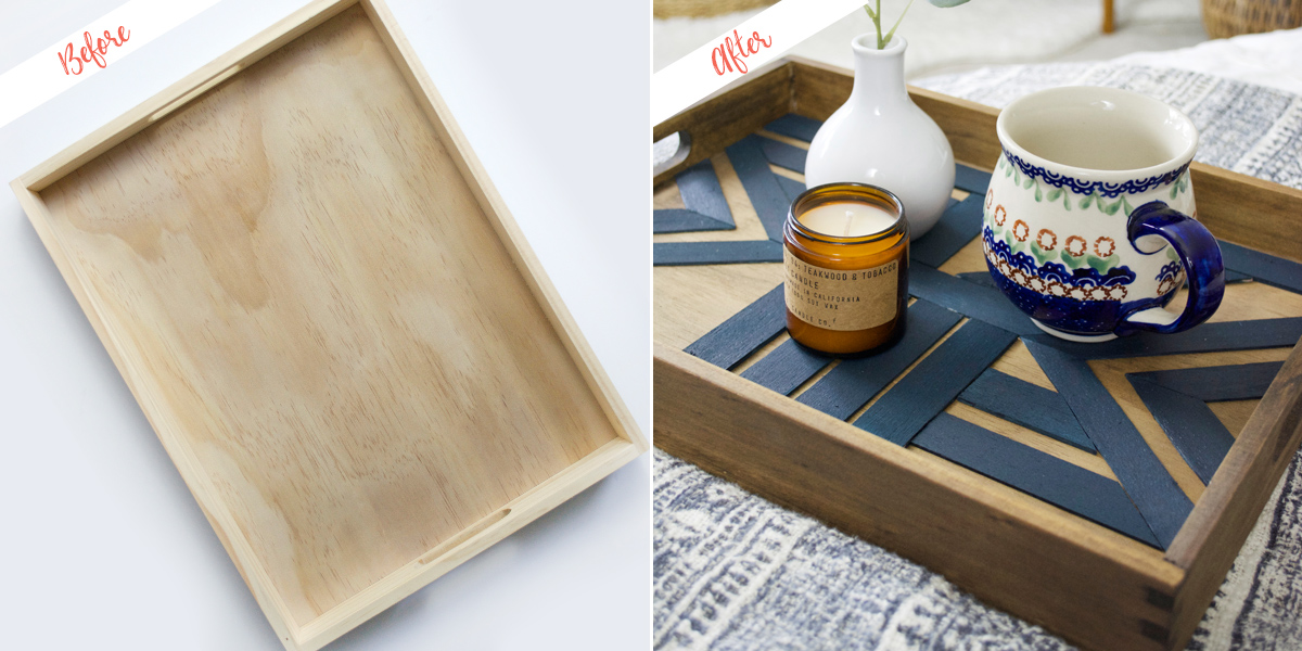 Geometric serving tray, before and after