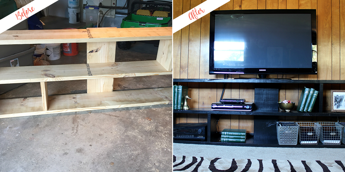 Stylish DIY Media Console, before and after