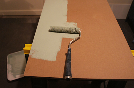 Paint the MDF shelves once they are cut to size