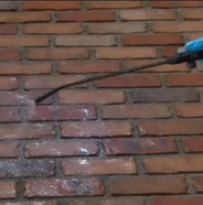 Rinsing brick patio