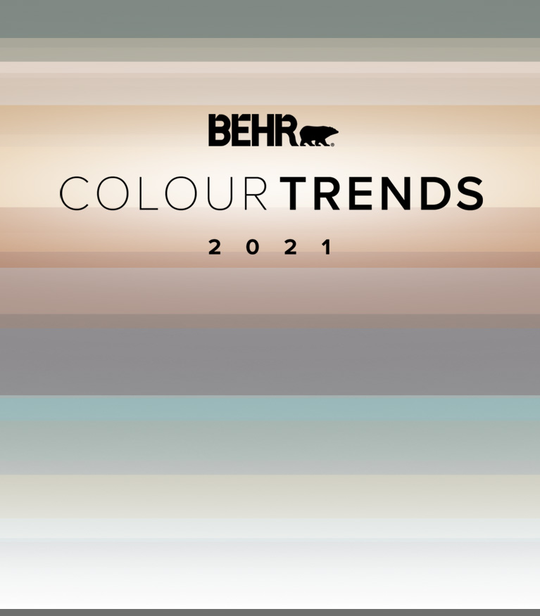 Mobile view of an image with the words 2021 Colour Trends with all the colour palette in the background