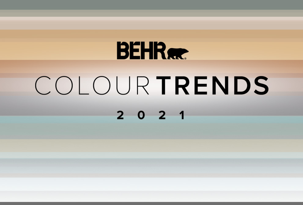 Tablet view of an image with the words 2021 Colour Trends with all the colour palette in the background.