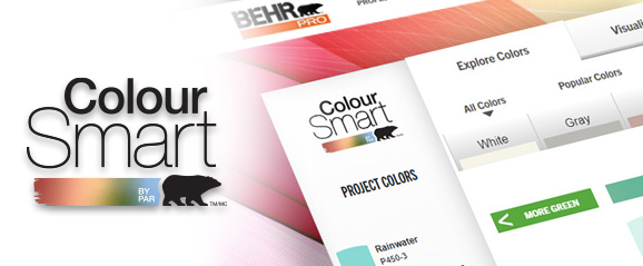 A screenshot of the BEHR ColourSmart tool in the background and the logo on the foreground. The image of the tool has different colour tabs and is displaying the green tab with several colour chips.