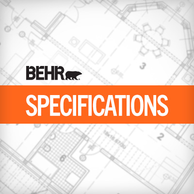 The word BEHR SPECIFICATIONS in front of a blueprint document.