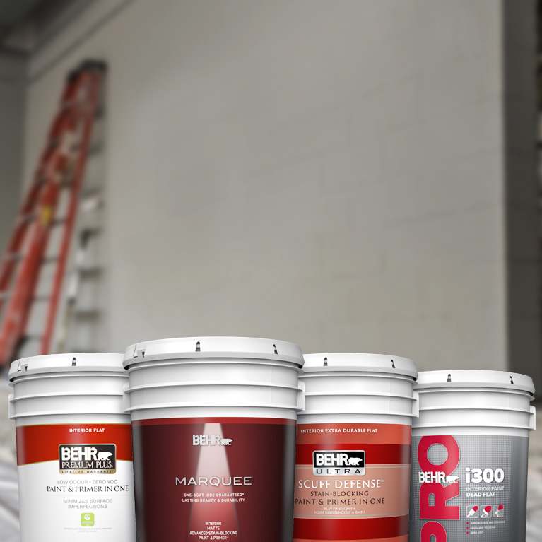 Portrait View of  a 5 gallon product cluster shot of BEHR PREMIUM Interior Flat, BEHR MARQUEE Interior Matte, BEHR ULTRA Interior Matte, and BEHR i300 Dead Flat. In the background, there is a ladder leaning on an unpainted interior wall.