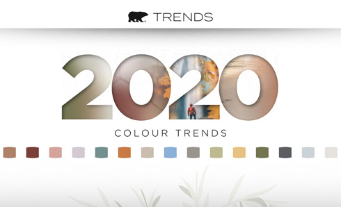 2020 Trends logo with colour chips representing trends colours below