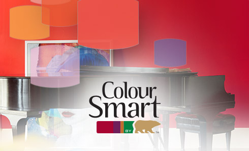 ColourSmart logo against red background