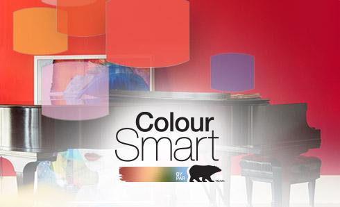 ColourSmart logo against red background
