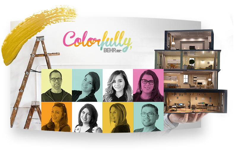 Texte Colorfully Behr avec photos de la tête de 8 personnes et une échelle en arrière-plan