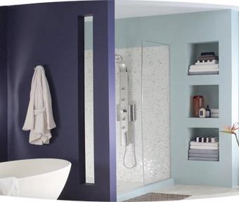 A bathroom with a windowed shower and porcelain bathtub