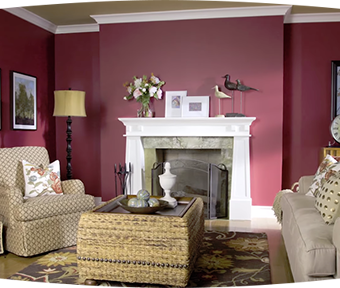 Dark red living room with fire place, lamp, chair, and couch