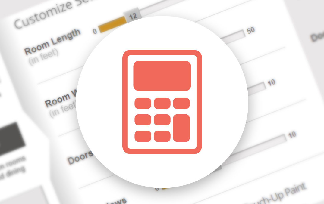 Orange calculator icon in a white bubble