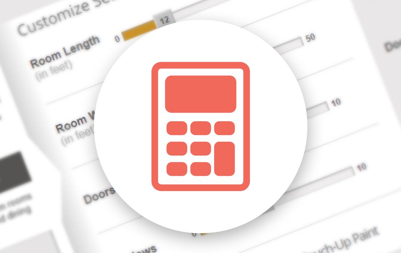 Icône de calculatrice orange dans une bulle blanche