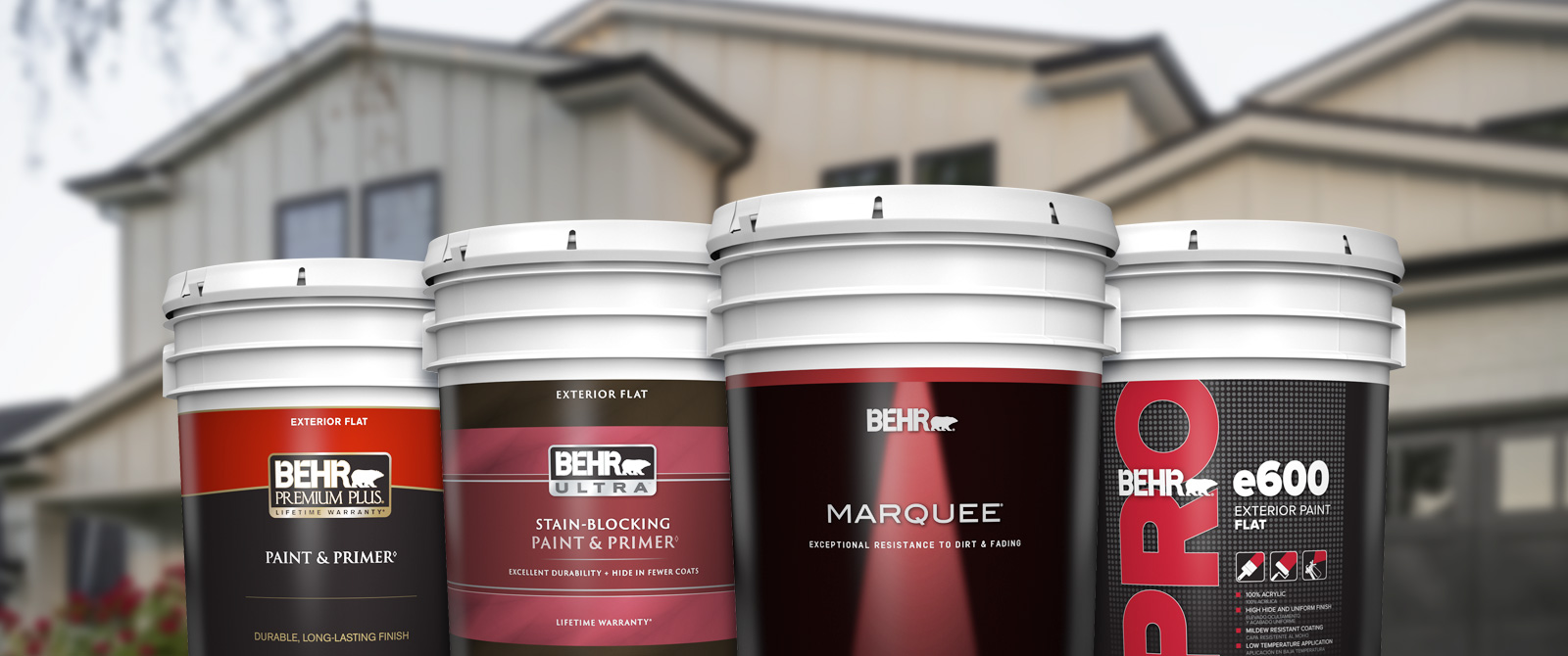 Behr Pro exterior products landing page desktop image featuring 5 gallon cans.