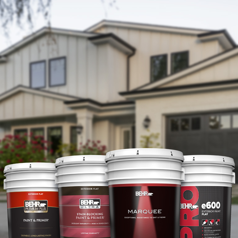 Behr Pro exterior products landing page mobile image featuring 5 gallon cans.