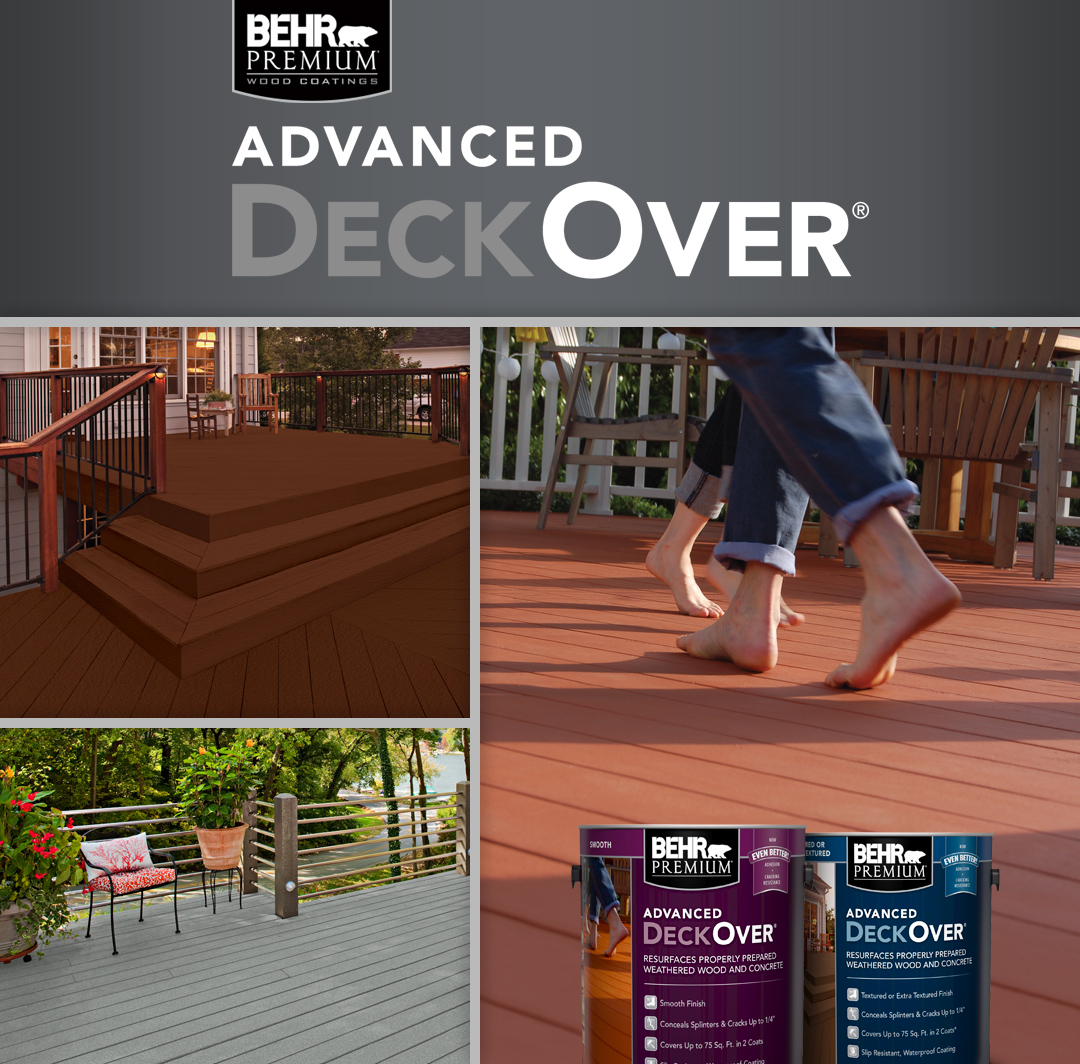 Behr Advanced deckover with two paint cans and deck in the background