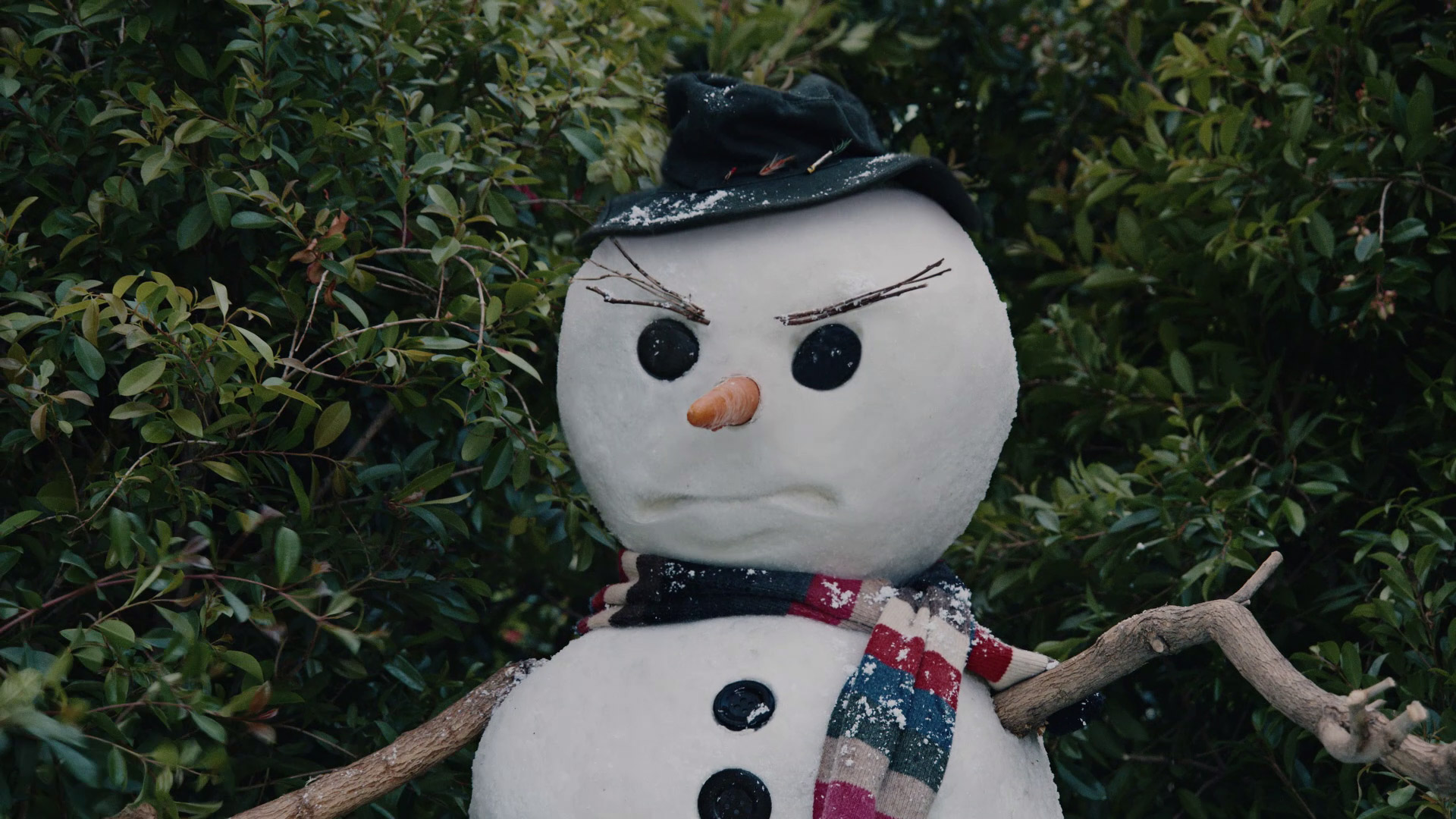 Angry snowman in a backyard