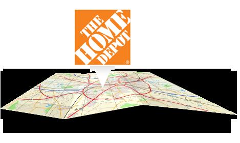 Le logo Home Depotpointant sur une carte