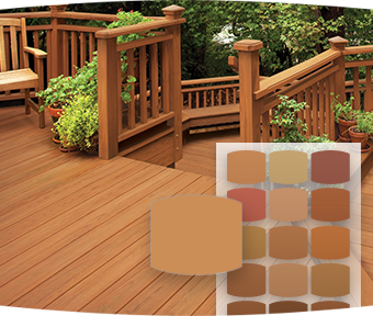 Image of deck with stain colour chips overlayed in foreground